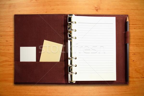 Photo stock: Brun · toile · portable · carte · vierge · crayon · bois