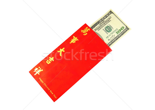 Money Dollar Cash Banknote in Red Envelope isolated on White Bac Stock photo © happydancing