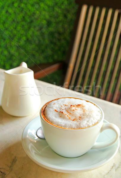 Beker tabel koffie restaurant drinken Stockfoto © happydancing