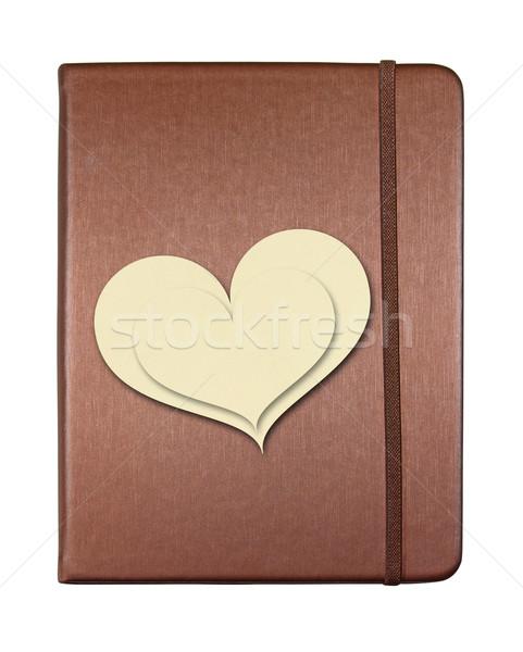 Bruin dekken notebook hartvorm papier geïsoleerd Stockfoto © happydancing