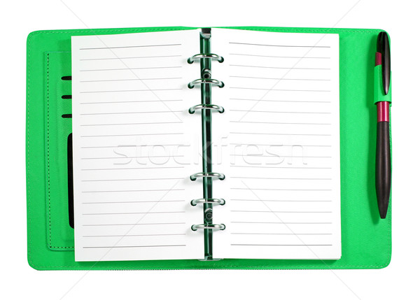 Green leather binder notebook with pen isolated on white  Stock photo © happydancing