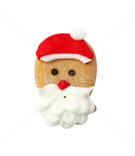 Santa gingerbread cookie isolated on white background Stock photo © happydancing