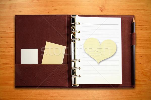 Bruin notebook hartvorm papier houten kantoor Stockfoto © happydancing