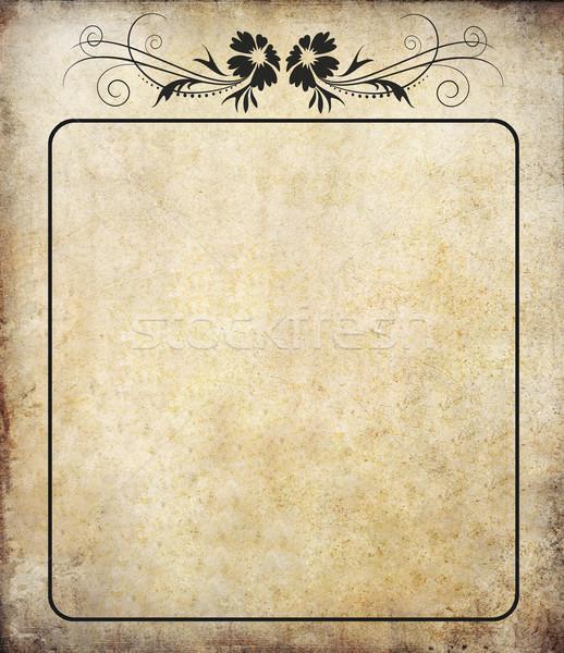 Stockfoto: Oude · grunge · papier · label · vintage · bloem