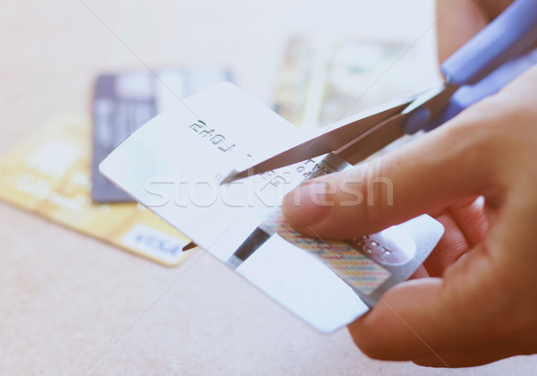 стороны кредитных карт ножницы человека таблице Сток-фото © happydancing
