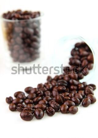 Kahve çekirdekleri cam beyaz doku sağlık içmek Stok fotoğraf © happydancing