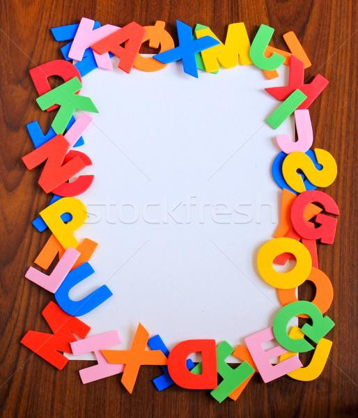 Kleurrijk alfabet frame witte papier houten Stockfoto © happydancing