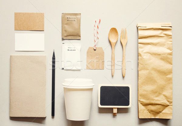 Coffee identity branding mockup set with retro filter effect  Stock photo © happydancing