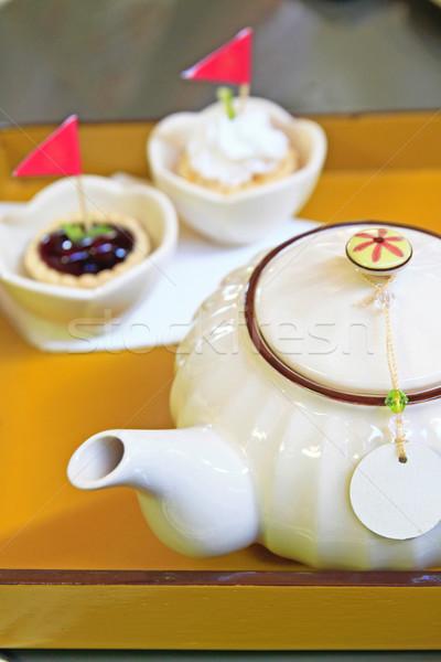 Foto stock: Chá · tempo · quebrar · jardim · doce · bolo