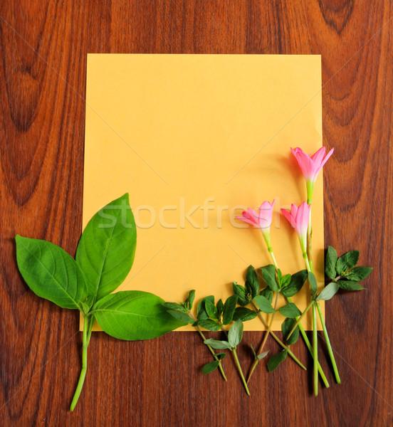 Flores hojas amarillo papel textura Foto stock © happydancing