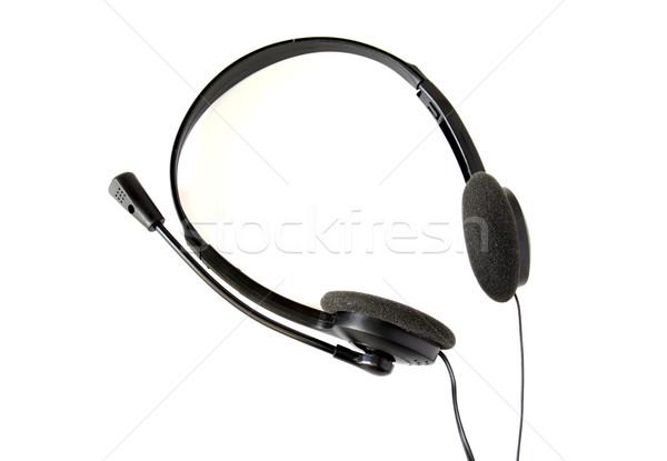 черный наушники изолированный белый технологий связи Сток-фото © happydancing
