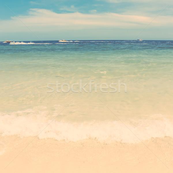 Retro bağbozumu stil yaz plaj deniz Stok fotoğraf © happydancing