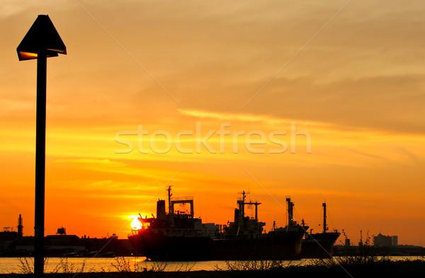 Сток-фото: промышленных · судно · завода · закат · реке · бизнеса