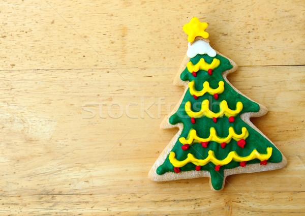 Dekore edilmiş Noel zencefilli çörek ahşap gıda ahşap Stok fotoğraf © happydancing