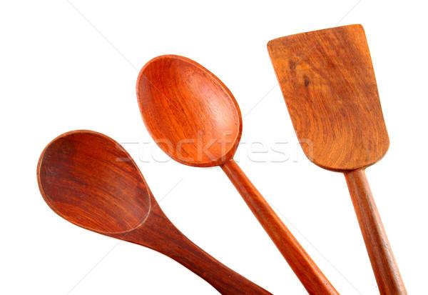 Verschillend keuken houten geïsoleerd witte Stockfoto © happydancing