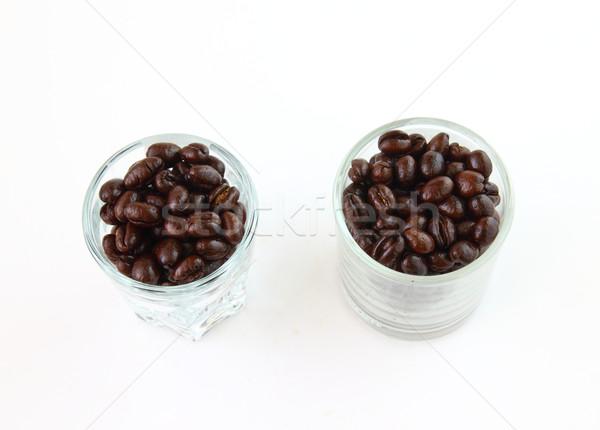 Koffiebonen bril witte textuur gezondheid fles Stockfoto © happydancing