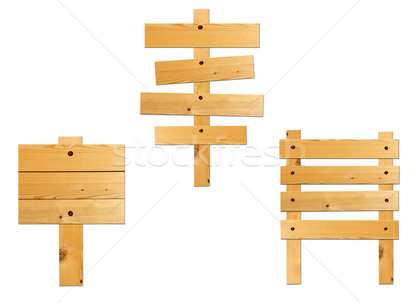 Collection of wooden board sign isolated on white  Stock photo © happydancing