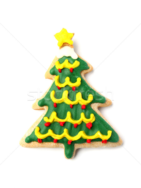 Decorated gingerbread Christmas tree on white Stock photo © happydancing
