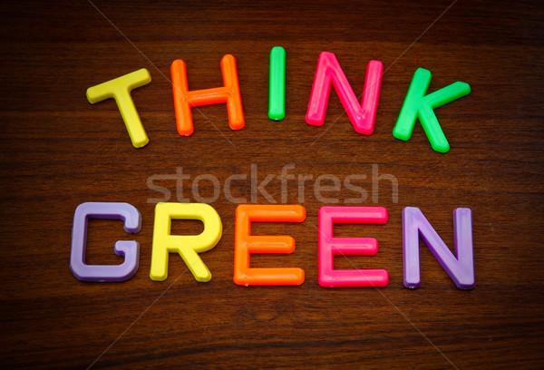 Pensar verde colorido juguete cartas madera Foto stock © happydancing