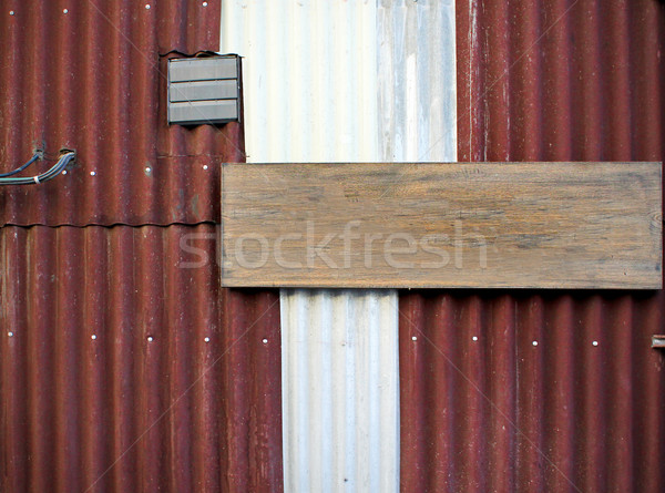 corrugated iron with empty wood board Stock photo © happydancing