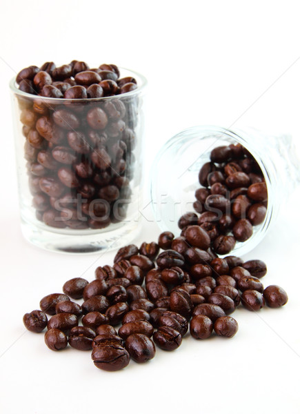Coffee beans in glasses on white background  Stock photo © happydancing