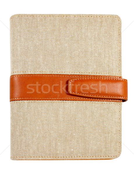 Kahverengi deri tuval kapak dikkat kitap Stok fotoğraf © happydancing