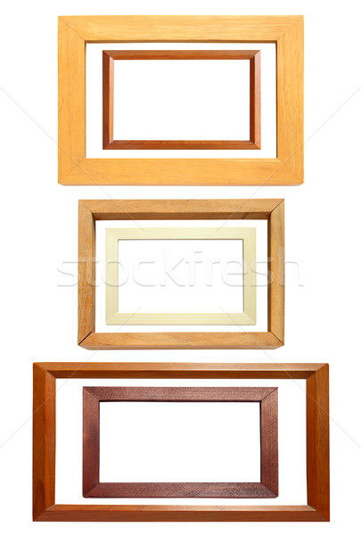 Stock fotó: Gyűjtemény · fakeret · izolált · fehér · textúra · fal