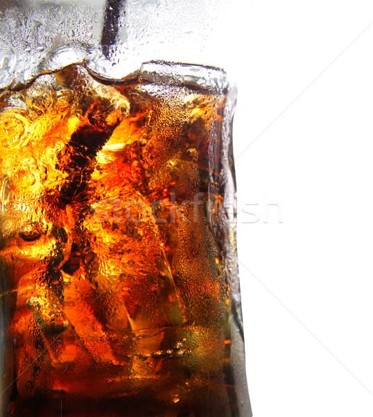 Cola glas geïsoleerd witte exemplaar ruimte ijs Stockfoto © happydancing