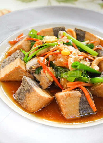 healthy food with tofu and vegetable Stock photo © happydancing