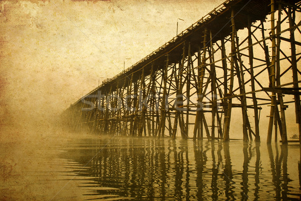 structure of longest wooden bridge in old image Stock photo © happydancing