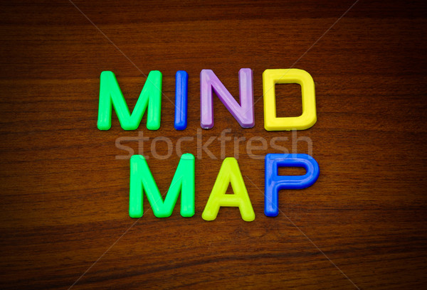 Mind map in colorful toy letters on wood background  Stock photo © happydancing