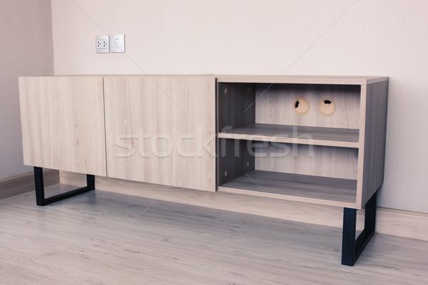 Lege tv kabinet appartement hout home Stockfoto © happydancing
