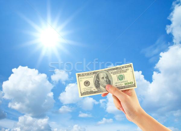 El para gökyüzü bulutlar güneş Stok fotoğraf © happydancing
