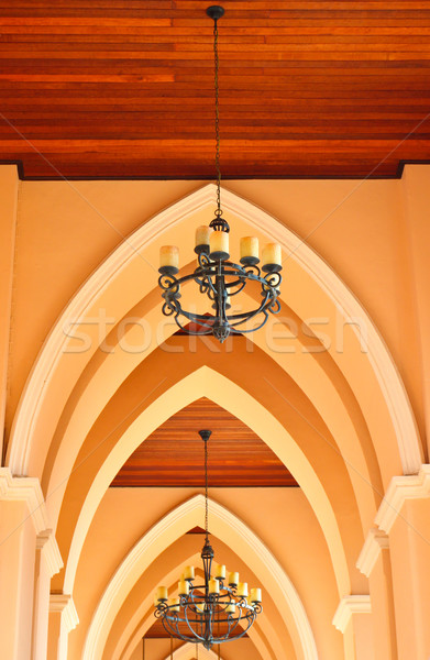 arched ceiling of church with chandelier Stock photo © happydancing
