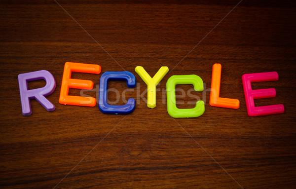 Recycleren kleurrijk speelgoed brieven hout abstract Stockfoto © happydancing