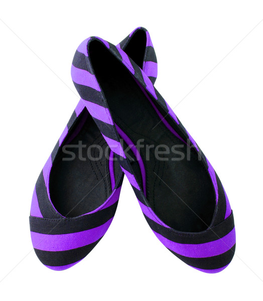 Purple striped shoes for woman isolated on white background  Stock photo © happydancing