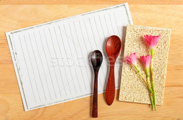 Kaşık çiçekler kâğıt ahşap çiçek gıda Stok fotoğraf © happydancing