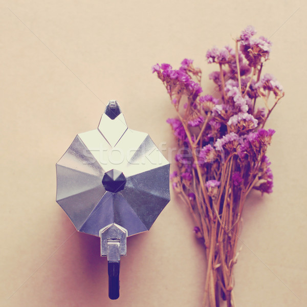 итальянский кофеварка цветок ретро эффект Сток-фото © happydancing