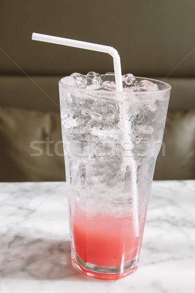 Cool iced summer drink on white marble table in the cafe Stock photo © happydancing