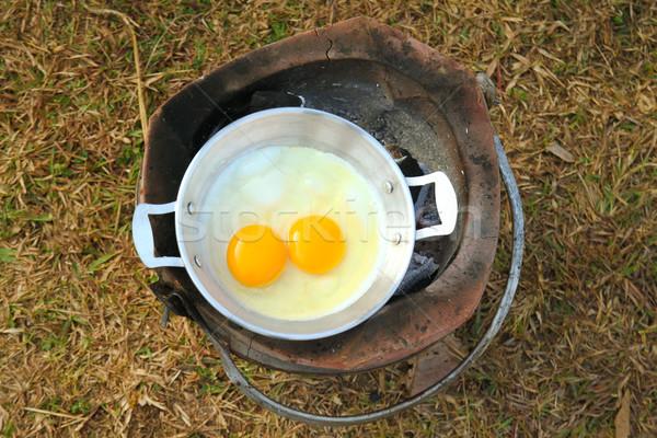 Huevos cocido camping estufa salud huevo Foto stock © happydancing
