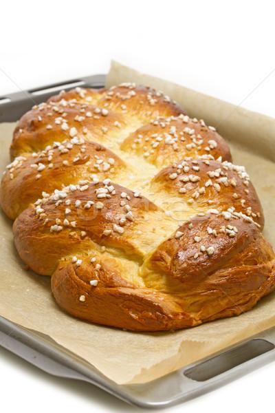 Home made sweet braided bread Stock photo © haraldmuc