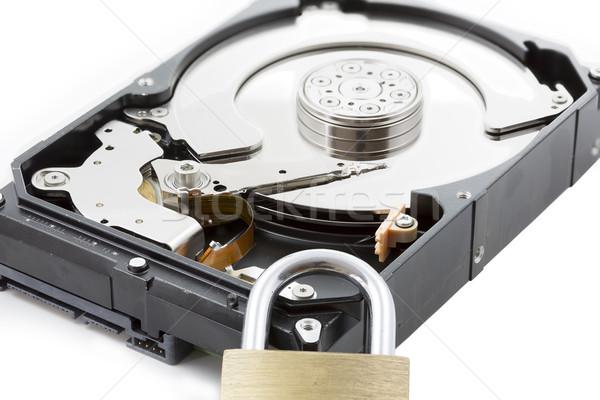 Computer harddisk drive closeup with locker Stock photo © haraldmuc