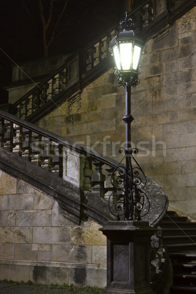 """Staircase at the """"Friedensengel"""" statue in Munich, Germany, at night Stock photo © haraldmuc"""