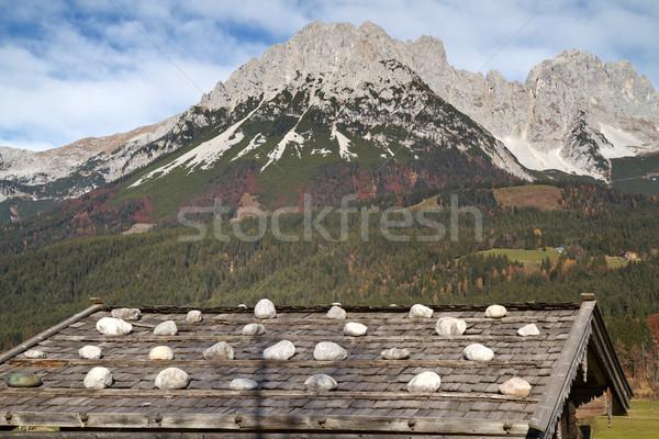 Foto stock: Montanhas · Áustria · outono · edifício · madeira · azul