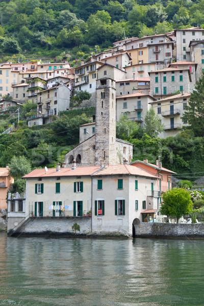 Pitoresco aldeia lago Itália água edifício Foto stock © haraldmuc
