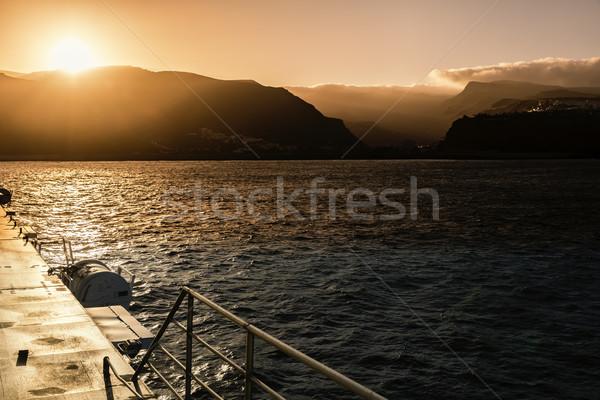 Zonsondergang eiland la Spanje zon landschap Stockfoto © haraldmuc
