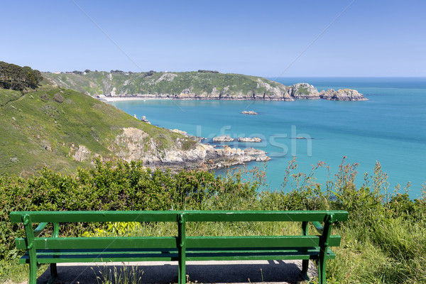 Bench overlooking south coast of Guernsey island, UK, Europe Stock photo © haraldmuc