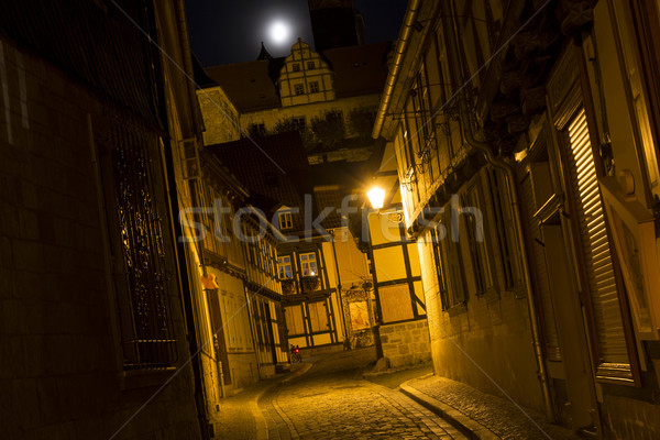 Alleyway in the town of Quedlinburg, Germany, at night Stock photo © haraldmuc