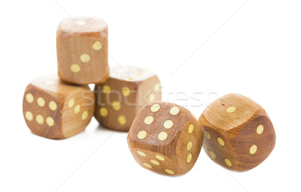 Wooden dices, isolated on white Stock photo © haraldmuc
