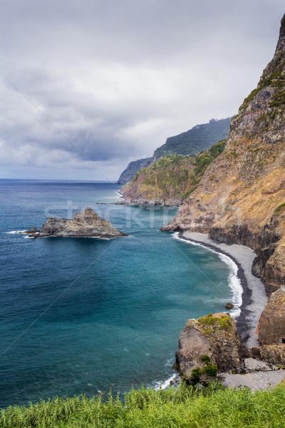 Tengerparti sziklák észak part tengerpart égbolt Stock fotó © haraldmuc